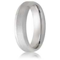 Jewelry Innovations Vitalium® Beveled Edge & Stone Finish 6mm Comfort Fit Wedding Ring - V6B-STONE