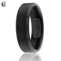 TORQUE by Crown Ring CBB-0019 7mm Black Cobalt with Beveled Edges