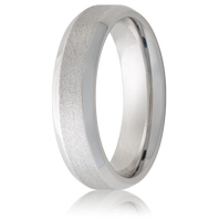 Jewelry Innovations Vitalium® Beveled Edge & Stone Finish 8mm Comfort Fit Wedding Ring - V8B-Stone