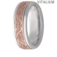 Jewelry Innovations Vitalium® Flat Top 8mm Comfort Fit Wedding Ring with 14K Gold Scroll in-lay - V8P15SC02214K