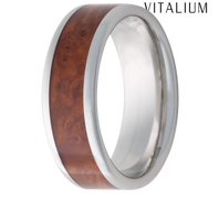 Jewelry Innovations Vitalium® Flat Top 8mm Comfort Fit Wedding Ring with Exotic Ambonia Burl Wood in-lay - V8P BURL