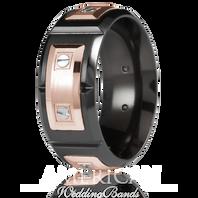 CARLEX WB-9854 9.5mm Black Cobalt & 18kt Rose Gold Links - Comfort-Fit