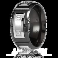 CARLEX WB-9854 9.5mm Black Cobalt & 18kt White Gold Links - Comfort-Fit