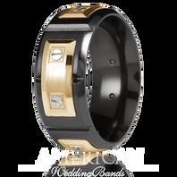 CARLEX WB-9854 9.5mm Black Cobalt & 18kt Yellow Gold Links - Comfort-Fit