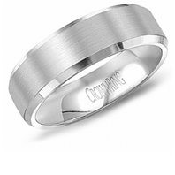 Crown Ring WB-7007 6mm Beveled Edge 14kt White Gold - Comfort Fit