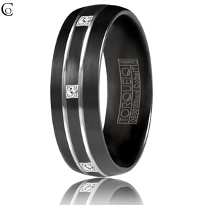 His 7mm Diamond Eternity Black Cobalt Wedding Ring from TORQUE by