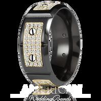 CARLEX WB-9792YB-S Black Cobalt & 18kt Yellow Gold 9.5mm Comfort Fit Diamond Wedding Band (.80ct)