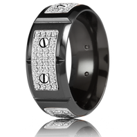 CARLEX WB-9792WB-S Black Cobalt & 18kt White Gold 9.5mm Comfort Fit Diamond Wedding Band (.80ct)