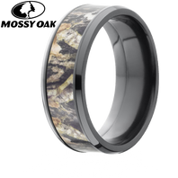 Mossy Oak trademarked camo pattern inlayed wedding rings available