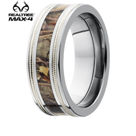 Lashbrook Realtree 8mm MAX 4R Camo Titanium Ring With Sterling Silver Millgrain