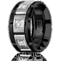CARLEX WB-9474WB Black Cobalt & 18kt White Gold 10.5mm Princess Diamond Wedding Band (.45ct)