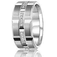 CARLEX WB-9339 Platinum 9.5mm Comfort Fit Diamond Wedding Band (.21ct)