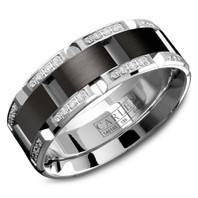 CARLEX WB-9317BW 7.5mm 18kt White Gold Comfort Fit Diamond Wedding Band with Black Cobalt (.42ct)