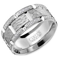 CARLEX WB-9475 Hammered 18kt White Gold 9.5mm Comfort Fit Diamond Wedding Band (.42ct)