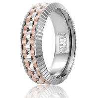CARLEX CX3 0004WRW S 18kt White Rose Gold 7mm Comfort Fit Wedding Band