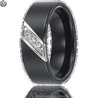 Triton 22-2949C 8mm Triton Black Tungsten Diamond Wedding Band (.10 ct)