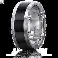 Triton 11-2232CE 8mm Tungsten Carbide & Black Ceramic Comfort Fit Wedding Band