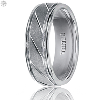 Triton 11-2215HC 7mm White Tungsten Carbide Diagonal Cut Comfort Fit Wedding Band