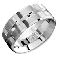 CARLEX WB-9567WC-S 18k White gold and WhiteCobalt 9mm Comfort Fit Wedding Band