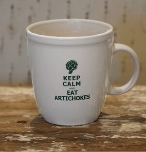 "Pezzini Farms ""Keep Calm and Eat Artichokes"" Coffee Cup"