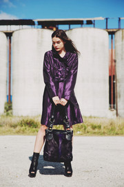 DIRA Handbag - Purple Dyed Springbok Skin & Black Leather