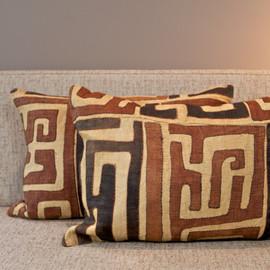 Raffia Kuba Cloth Pillow - Lumbar