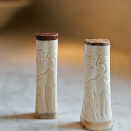 Carved Bone Salt & Pepper Shakers