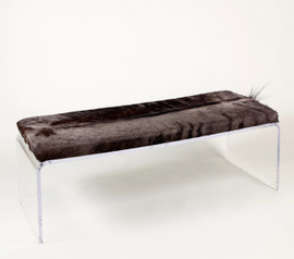 Blue Wildebeest Hide Upholstered Bench on Acrylic Base