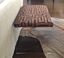 Kuba Cloth Upholstered Bench on Acrylic Waterfall Base
