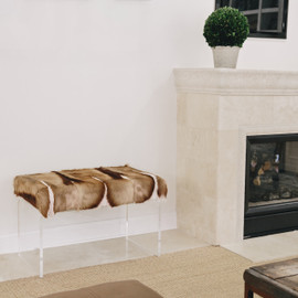 Springbok Hide Upholstered Bench on Acrylic Base