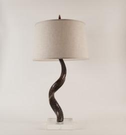 Kudu Horn Table Lamp on Acrylic