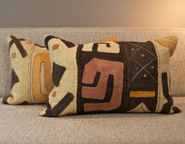 Raffia Kuba Cloth Pillow - Large Square