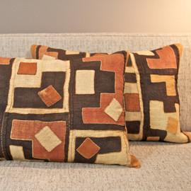 Raffia Kuba Cloth Pillow - medium square
