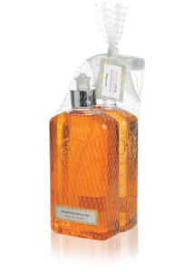 Orange Kitchen Soap and Surface Cleaner bottles packaged together in netting