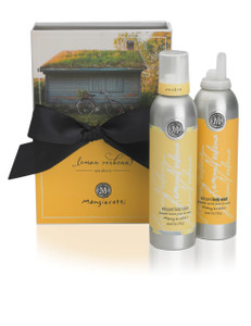 Yellow box with black bow and both Whipped Body Lotion and Whipped Body Wash.