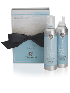 Blue box with black bow and both Whipped Body Lotion and Whipped Body Wash.