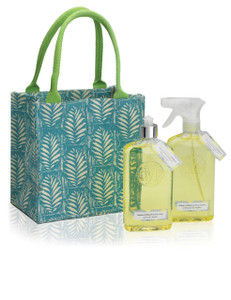Green canvas tote with bottles of kitchen cleaner and dish soap
