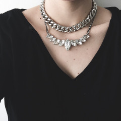 Gem Necklace paired with our Collar necklace.