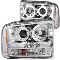 Anzo 1 PC Chrome Clear LED Projector Headlight Ford 2005-2007