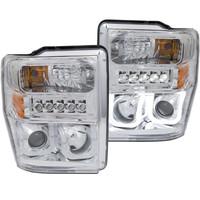 Anzo 1 PC Chrome Clear LED U-Bar Projector Headlight Ford 2008-2010