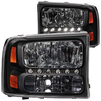 Anzo 1 PC Crystal Black LED Lights Headlight Ford 1999-2004