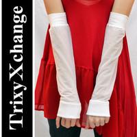 White Sheer Arm Warmers