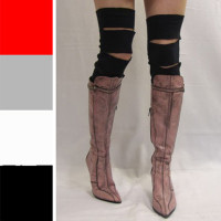 Black Slashed Cotton Leg Warmers