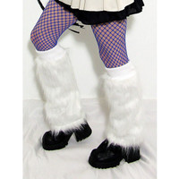 UV Reactive Short White Skinny Fur Leg Warmers
