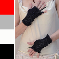 Short Black Corset Lace Up Fingerless Gloves