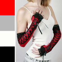 Long Black and Red Corset Lace Up Arm Warmers