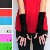 Black Fingerless Wrap Gloves