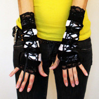 Black and White Striped Corset Fingerless Gloves