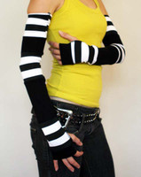 Extra Long Black and White Patchwork Fingerless Gloves