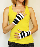 Short Black and White Striped Fingerless Gloves